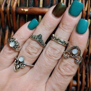5-pc Opalescent Princess Midi Ring Set